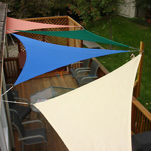Sun Shade Sail Triangle Permeable Patio Pool Pergola Canopy Brown
