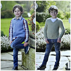 27d626a061e0 Easy Knit KNITTING PATTERN Boys V-Neck Jumper   Slipover DK King ...