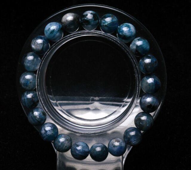 9mm Natural Blue Kyanite Crystal Cat Eye Beads Stretch Bracelet AAA