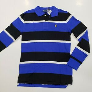 New-with-tag-Boys-RALPH-LAUREN-Black-Blue-White-Long-Sleeve-POLO-Shirt-XL-18-20