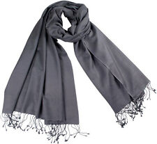 Pashmina Stola Grau, Schal 70% Cashmere 30% Seide, grey, silk stole 71x198 cm