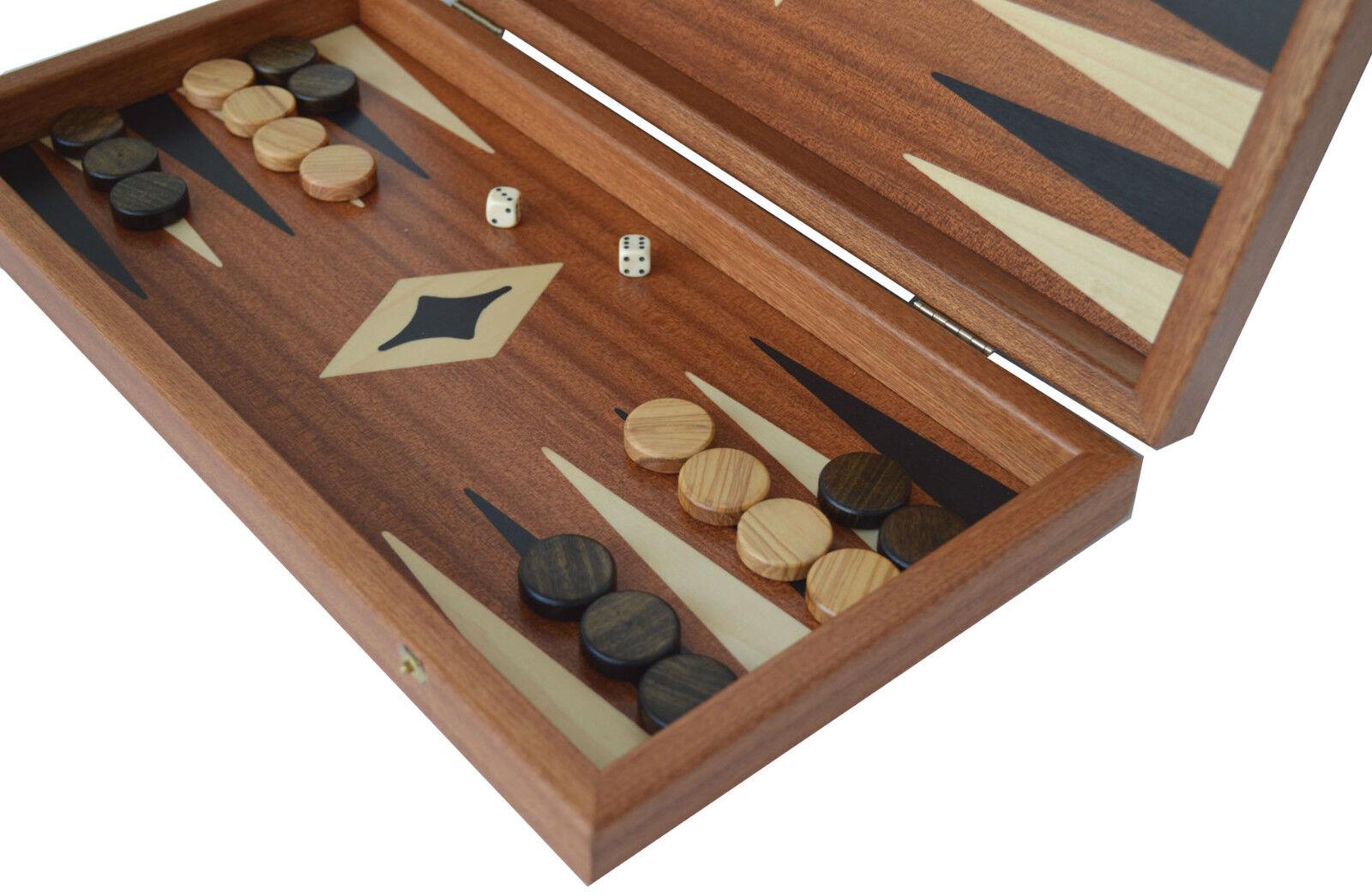 Conjunto de 15  Caoba Backgammon tradicional Manopoulos-Oliva Damas