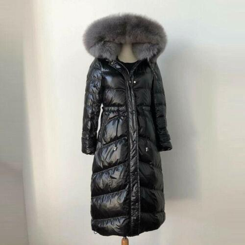 Womens s-xl Duck Down Snow Jacket Long Coats Fox Fur Collar Hooded Parka Warm