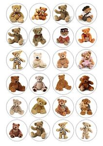 Edible Image Toppers Reviews : 24 Teddy Bear Wafer / Rice Paper Cupcake Topper Edible ...