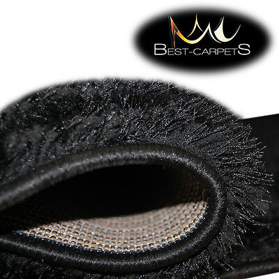 Thick Carpets Fluffy Soft Shaggy Verona Black Polyester Rugs In