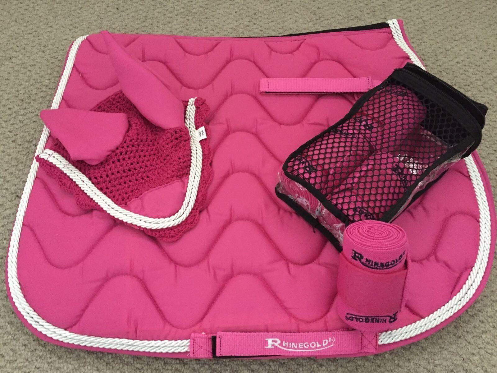Matchy Set Saddle Pad Fly Veil  Bonnet  And Bandages Cob Pink FREE UK Postage