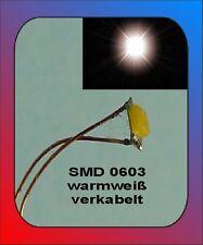 10 x SMD Bauart 0603 warm weiss warmwhite verkabelt Litze Kabel Kupferlackdraht