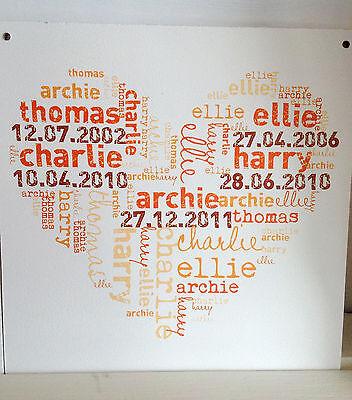 023 Personalizzata Orange Word Art Cuore Targa 20 X 20 Famiglia / Battesimo Segno- Pacchetti Alla Moda E Attraenti