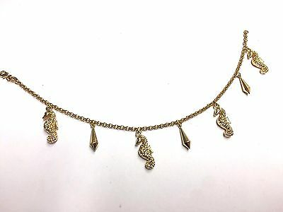 Fashion Jewelry Sweet Anklets Beachy Sea Horse And Spires Puffy 18k Yellow Gold Filled Anklet Bracelet