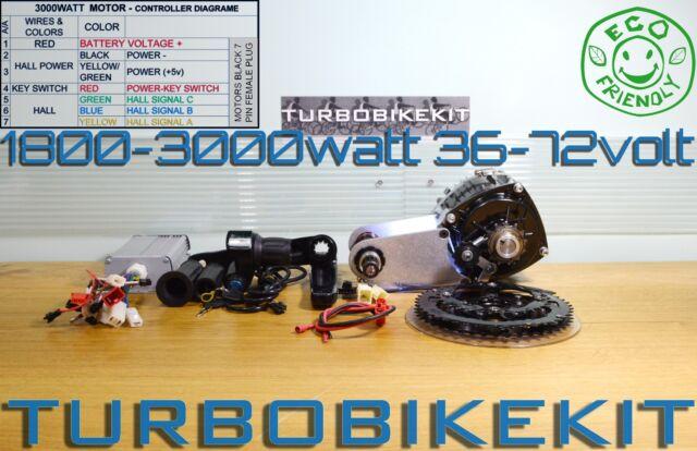 E-Bike Mid Drive 1800-3000watt 36-72volt Waterproof Electric Bike Kit