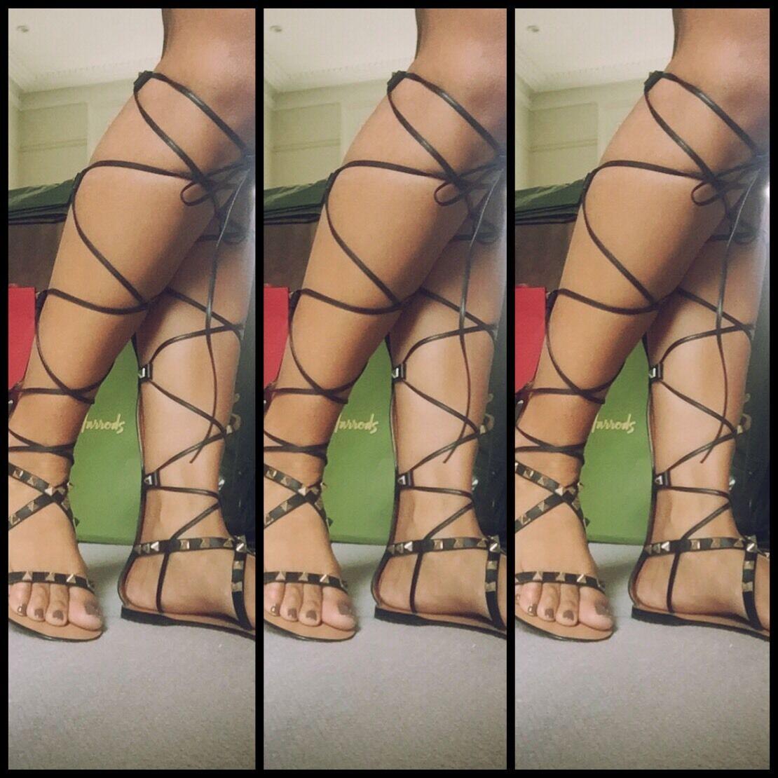VALENTINO GARAVANI GARAVANI GARAVANI rockstudd Knee-High Sandali Gladiatore Nero 35.5 e00e5c