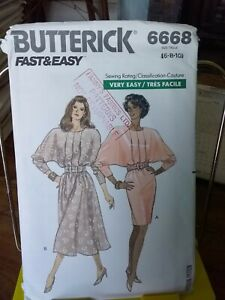 Oop-Butterick-easy-6668-misses-dress-dolman-sleeves-sz-6-10-NEW