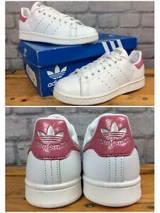 Adidas-Femmes-UK-5-EU-38-cuir-blanc-rose-peau-de-serpent-Stan-Smith-Baskets-LD