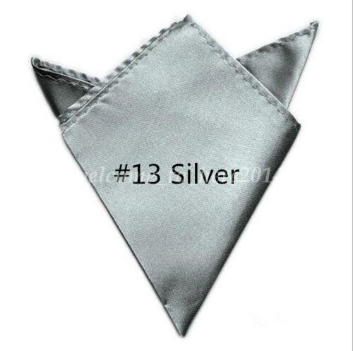 1X Men Hanky Silk Satin Pocket Solid Color Square Hankerchief Party Wedding Gift