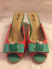 Pre Owned Women Shoes Size 6.5 (37)  Medium Heel Apple Green Pink Color