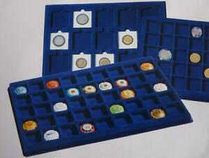 Cargo-L6-Blue-Felt-Coin-Tray-Square-Round-Slab-Compartments-Assorted-Sizes