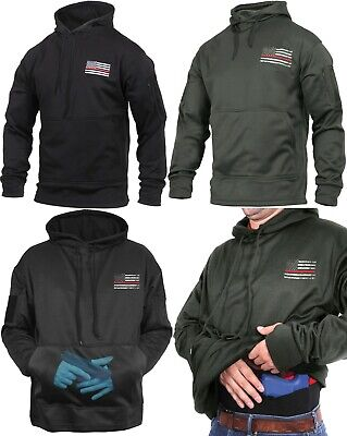 Hoodie Concealed Carry Black with US Flag Thin Red Line Sweatshirt Rothco 2066