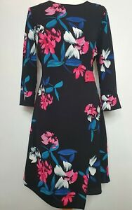 Phase-Eight-UK-Size-12-Floral-Black-Hot-Pink-amp-Blue-Wrap-Midi-Dress-Wedding