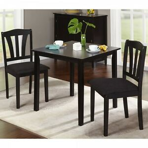 Details About Black Dining Set For 2 Compact Square Table Chairs Kitchen Apartment Dorm Room