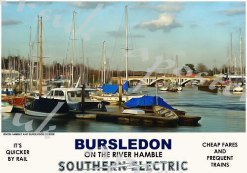 Vintage Style Railway Poster Bursledon River Hamble A4//A3//A2 Print