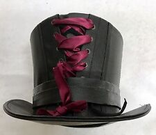 Steampunk Negro de Cuero Artificial Top Hat y Sombrero Pin Talla 59vm