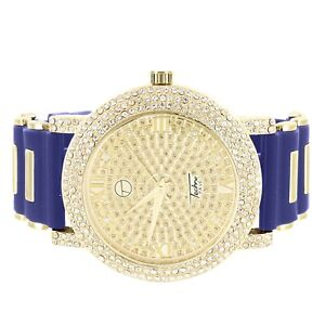 Iced-Out-Techno-Pave-Watch-Gold-Tone-Simulated-Diamonds-Blue-Bullet-Design-Band