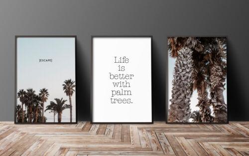 BelleART S16 Palmen Escape Deko Bilder SET Bilderwand Impressionen Geschenkidee