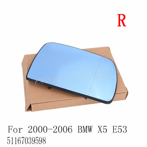 Right Blue Wide Angle Sight Rearview Heated Mirror Glass For BMW X5 E53 00-06