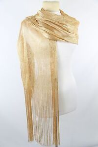 b8 gold metallic long fringe formal evening scarf shawl