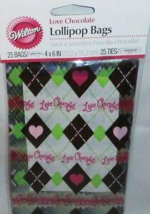 Wilton-Valentine-039-s-Day-LOLLIPOP-BAGS-25ct-w-Ties-Love-Chocolate-4-034-x-6-034