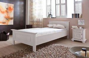 Einzelbett weiß 100x200  BETT SALLY FICHTE MASSIV 100X200 WEISS LASIERT EINZELBETT NEU ...
