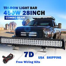 "28"" Tri-Row CREE 450W LED Light Bar Combo Beam Offroad Boat Driving Lamp 4W"