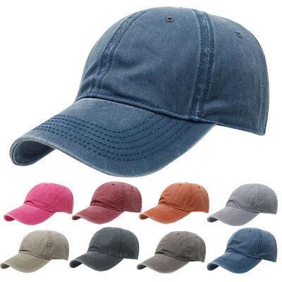 31a7d7782 Mens Womens Vintage Baseball Cap Denim Hat Brushed Washed Cotton Low  Profile   eBay