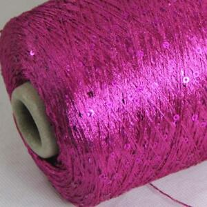 Sale New 1Cone 500g Polyester Sequin Hand Knitting Wrap Stole Crochet Yarn 11
