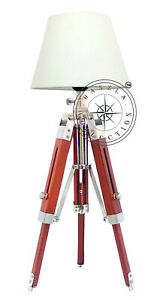 Details About Office Desk Wooden Tripod Table Lamp Nautical Chrome Home Decor Bedside Lighting