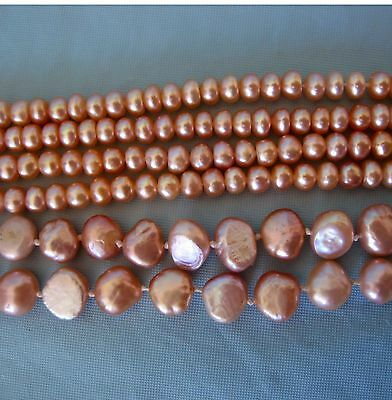 3 Strands of Loose Peach Pink Natural Freshwater Pearls for Jewelry Making