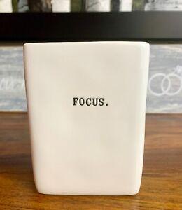 NEW-Rae-Dunn-FOCUS-Office-Organizer-Pencil-Pen-Holder-Square-Vase-Ivory