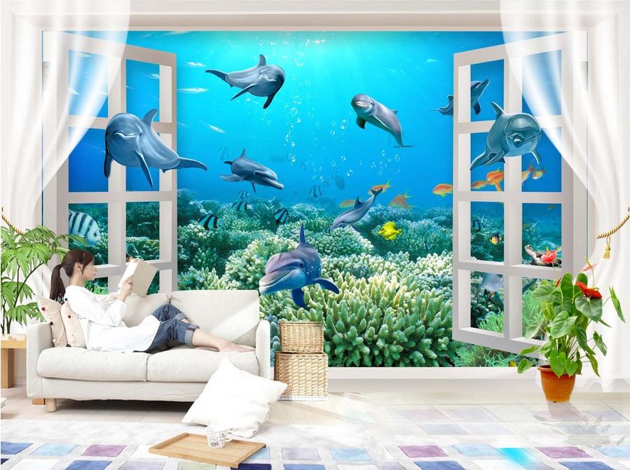 3D Delphin Koralle Fenster 84 Tapete Wandgemälde Tapete Tapeten Bild Familie DE | Sehr gute Qualität  | Verschiedene Stile und Stile  | Neuer Stil