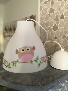 Details zu Hängelampe Deckenlampe Kinderzimmer Kinder Baby Babyzimmer Eule  rosa Mädchen
