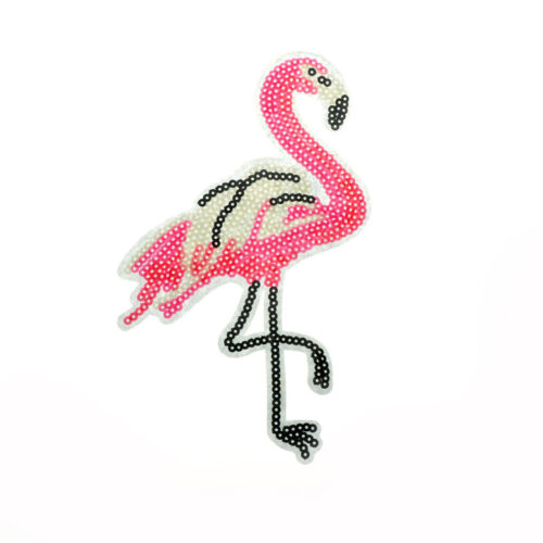 flamingo sequin embroidery iron//sew on patch applique hat bag badge motif diy dX