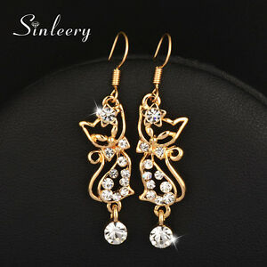 728095a68e827 Wholesale 10 pcs Lovely Cute Crystal Cat Dangle Earrings 18K Yellow ...