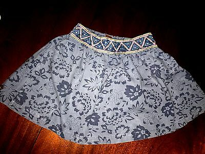 7 Tea Collection Blue Skirt w/ Colorful Embroidery at the Waist