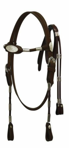 DARK BROWN Leather Western POCO Bridle w//Silver Ferrules /& Reins Horse Size