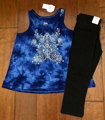 NWT JUSTICE Girls 12 Tie Dye Glitter Logo Tank /& Unicorn Print Shorts Outfit