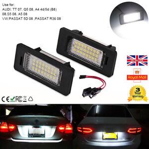 2x RZG White LED Licence Number Plate Light Canbus For A3 A4 B8 A5 Q5 A6 TT Jetta Passat Sharan Touareg Panamera Ibiza