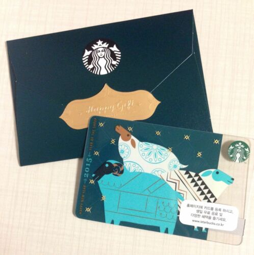 Starbuck Korea 2015 Blue Sheep Card with Matching Sleeve