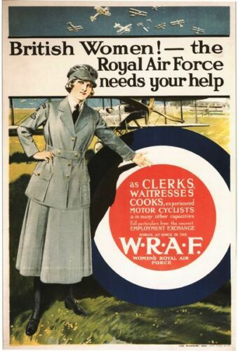 Vintage World War 1 Womens Royal Air Force Poster A3//A2//A1 Print
