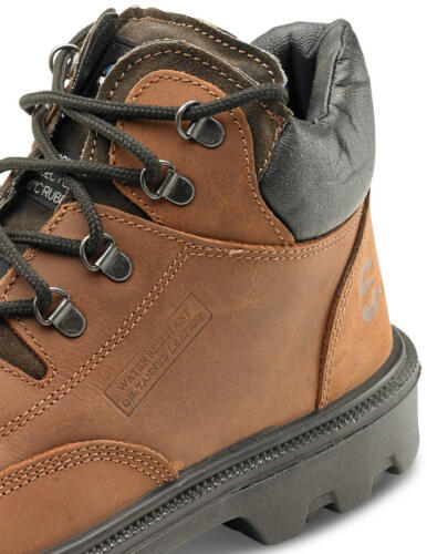 Click Sherpa Mid Cut Brown Leather Chukka Work Safety Boots Steel Toe Cap Sole