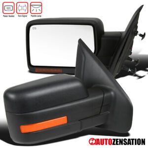 For-Ford-2007-2014-F150-Black-Power-Heat-Pair-Mirrors-LED-Signal-Puddle-Lights