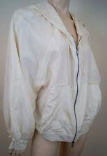 DKNY DONNA KARAN Winter White 100% Silk Hooded Casual Hoodie Jacket Sz:L